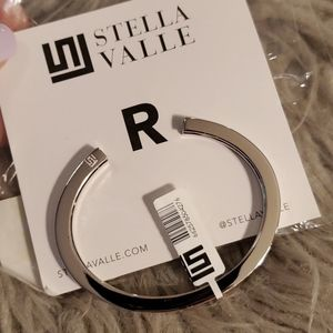 Stella Valle R Initial Cuff Bracelet Silver Color